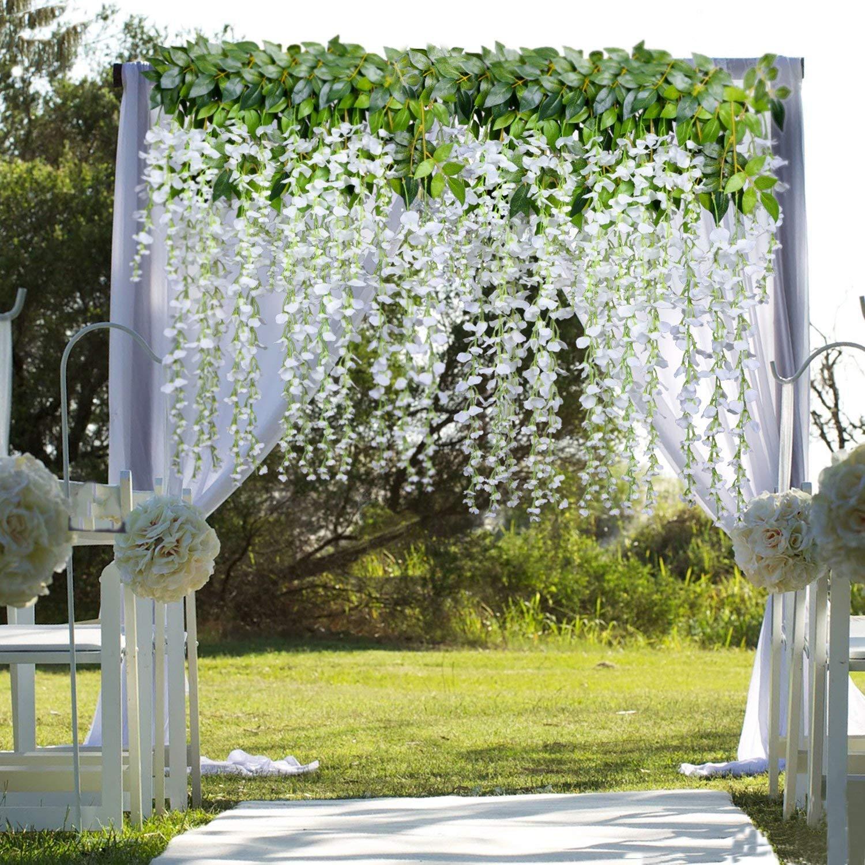12 pcs Fleurs Artificielles D/écoration de la Maison chaque M/èche artificiel Wisteria Fleur en soie pour mariage D/écorations Home Garden Party Decor 110 cm
