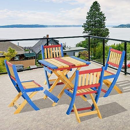Sedie Colorate Da Giardino.Tidyard Set Tavolino Per Bambini Con 4 Sedie Pieghevoli In Legno