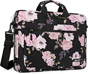 MOSISO Laptop Shoulder Bag Compatible with MacBook Pro 16 inch A2141/Pro Retina A1398, 15-15.6 inch Notebook, Polyester Peony Messenger Carrying Briefcase Sleeve with Adjustable Depth at Bottom, Black