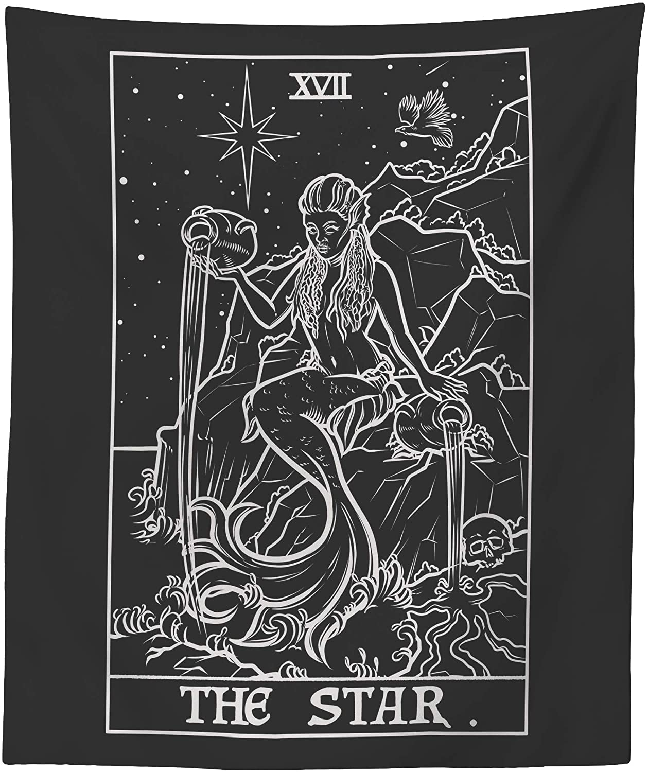 "The Star Tarot Card Tapestry (Black & White) - Spooky Siren Mermaid - Gothic Halloween Home Decor Wall Hanging (59"" x 51"")"