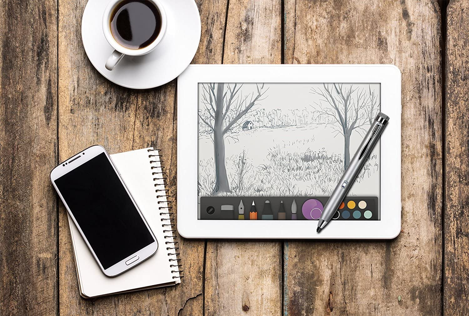 Broonel Grey Fine Point Digital Active Stylus Pen Compatible with The Samsung Galaxy Tab A T580 10.1 Tablet