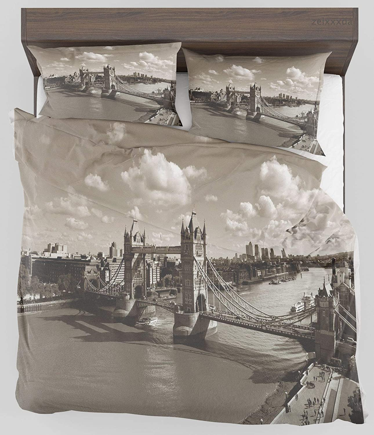 ZELXXXDA Decor Bedding Set Travel Tower Bridge in London Cloudy Sky of Old Historic Cityscape Nostalgia England Theme Full/Queen Size Duvet Cover with 2 Matching Pillow sham
