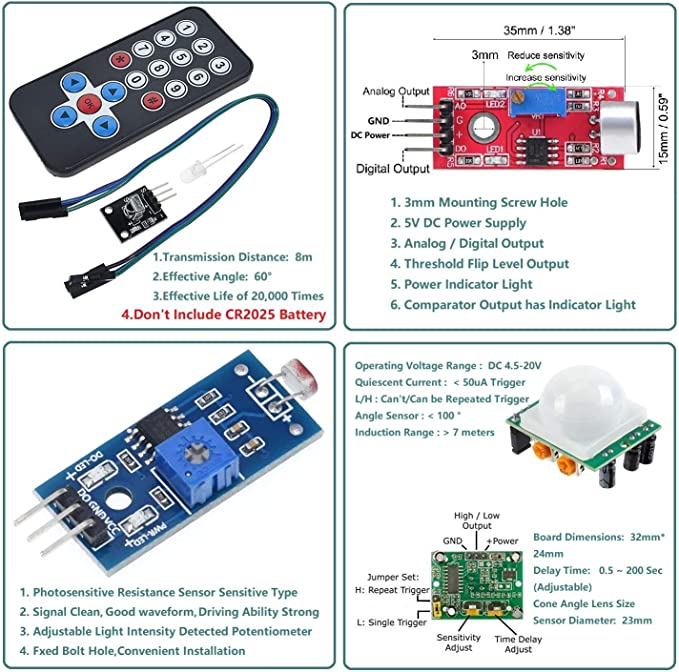 Kit de d/émarrage pour Kit Arduino ESP8266 Bande annulaire LED RGB 24 WS2812B Contr/ôle WiFi//IR Son//Lumi/ère//Musique R/éactive,Horloge analogique,Avertissement//D/étection//Flash Light avec Arduino IDE