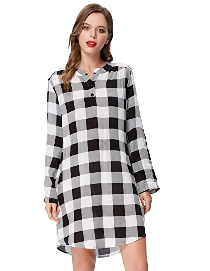535e5b28e44 Kate Kasin Women s Grid Plaid Casual Loose Fitting Flowy Dress for  Spring(XL