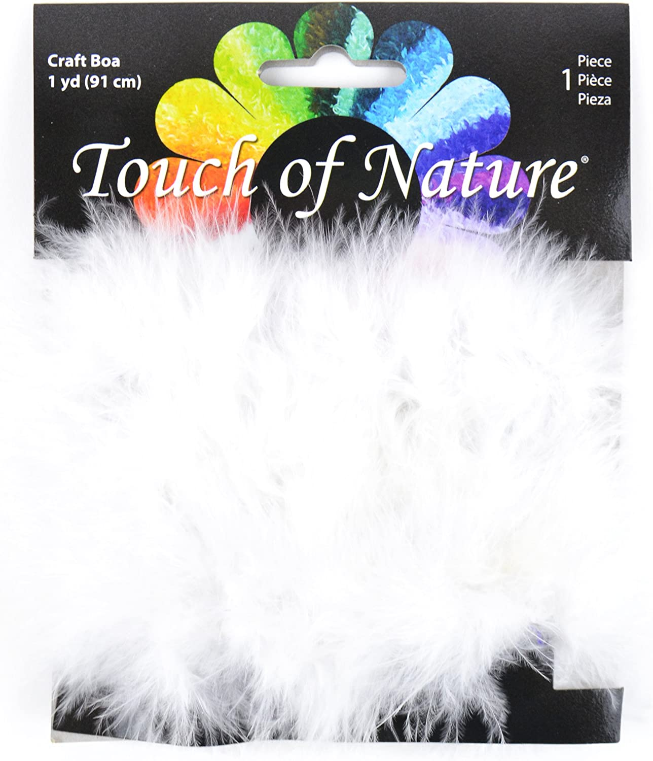 Touch of Nature 1-Piece Feather Marabou Craft Boa with Wire Center for Arts and Crafts, 1-Yard, White
