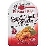 BUMBLE BEE Seasoned Tuna Pouch with Spoon tuna fish, Sun-Dried Tomato & Basil , 2.5 Ounce (Pack of 12)