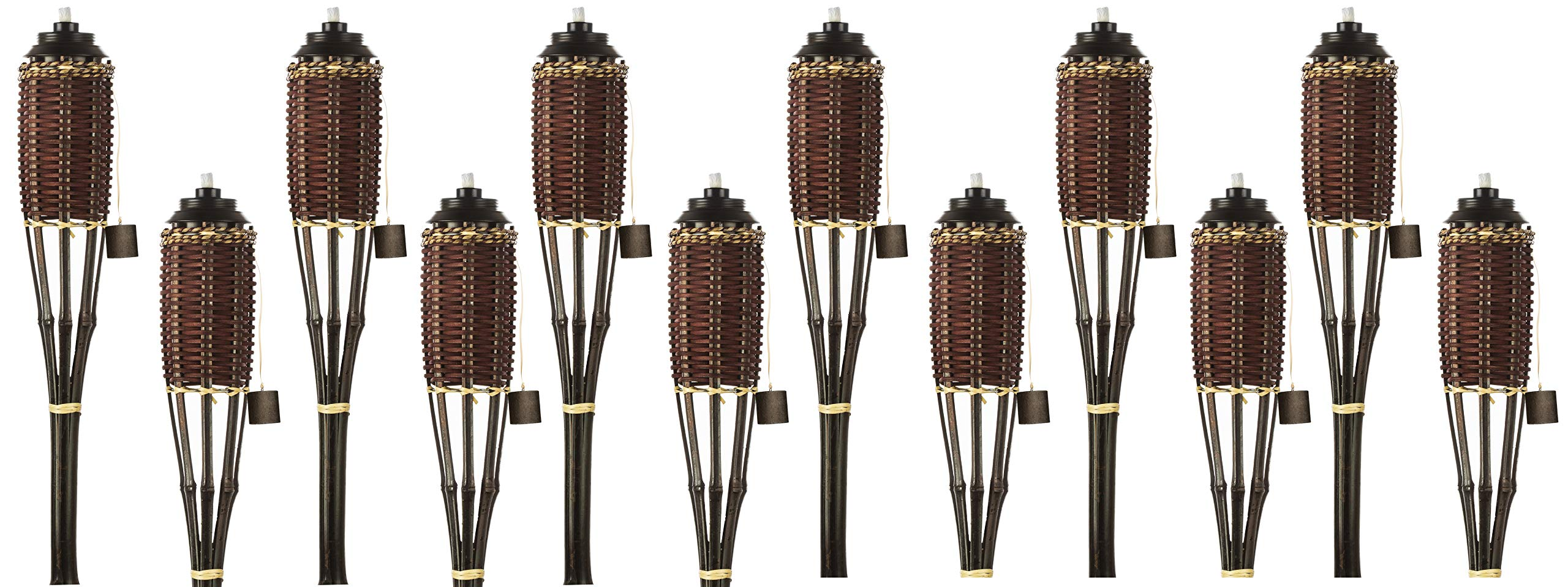 5 Star North Brown Weave Bamboo Torches; Decorative Torches; Fiberglass Wicks; Extra-Large (16oz) Metal Canisters for Longer Lasting Burn; Stands 59'' Tall (12 Pack)