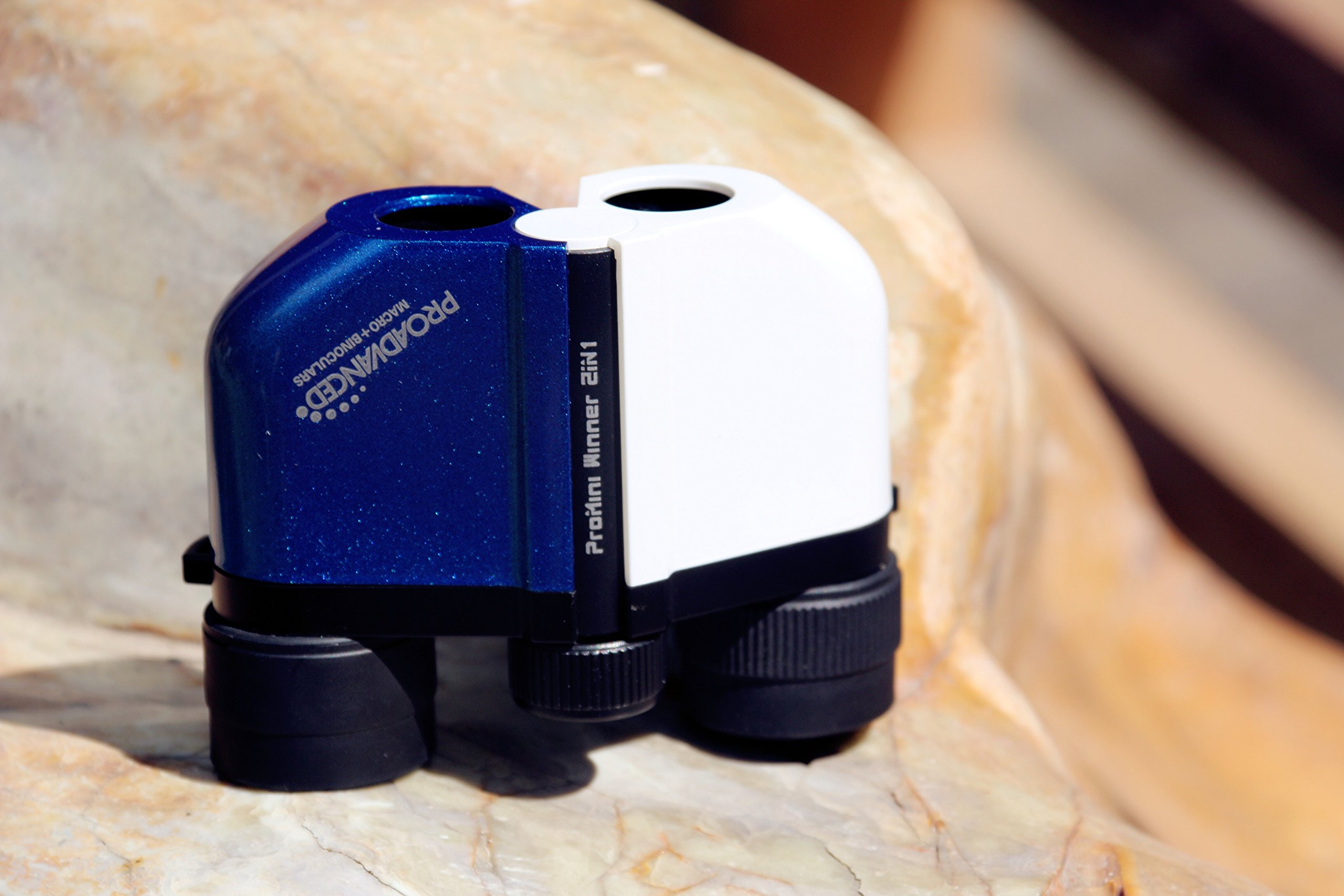 Pocket Eagle Winner 2in1 -''More Than Just Binocular'': Macro Binocular - Micro-Distance - Close-Focusing - Best Gifts For Kid, For Elder, For Travel, For Concert (White & Blue)