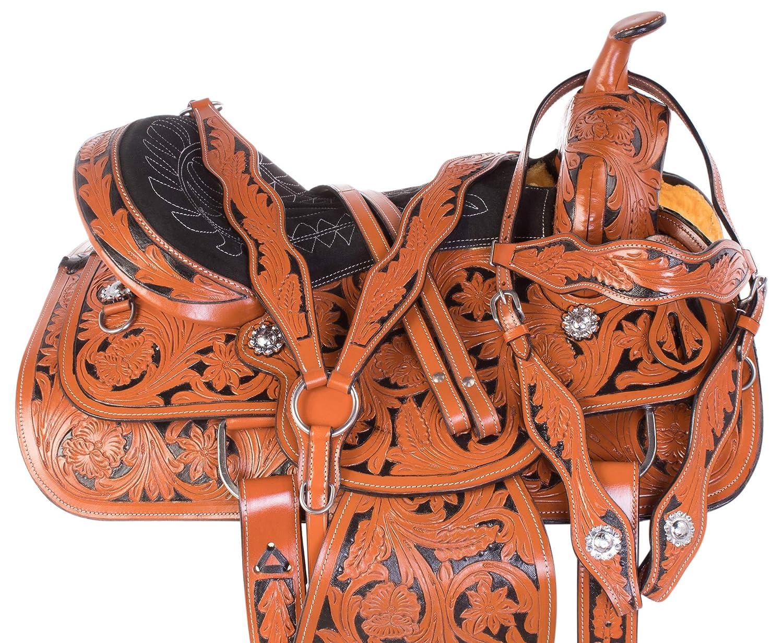 AceRugs 美しいブラックインレー ウエスタンバレル レーサー トレイルショー レザー 馬 サドルタック ヘッドストール 手綱 胸部プレート