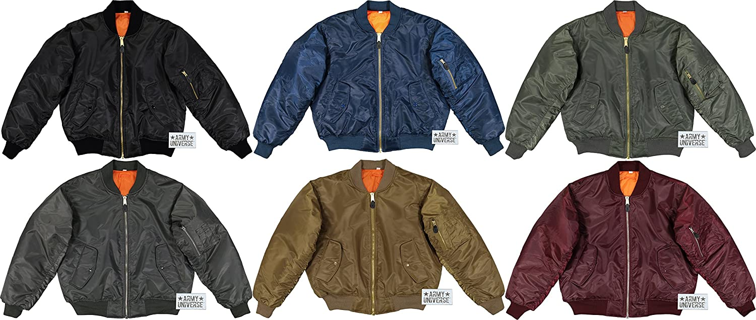 Amazon.com  Army Universe MA-1 Bomber Flight Jacket Reversible Air Force Military  Coat with Official Pin  Clothing 7835829de9