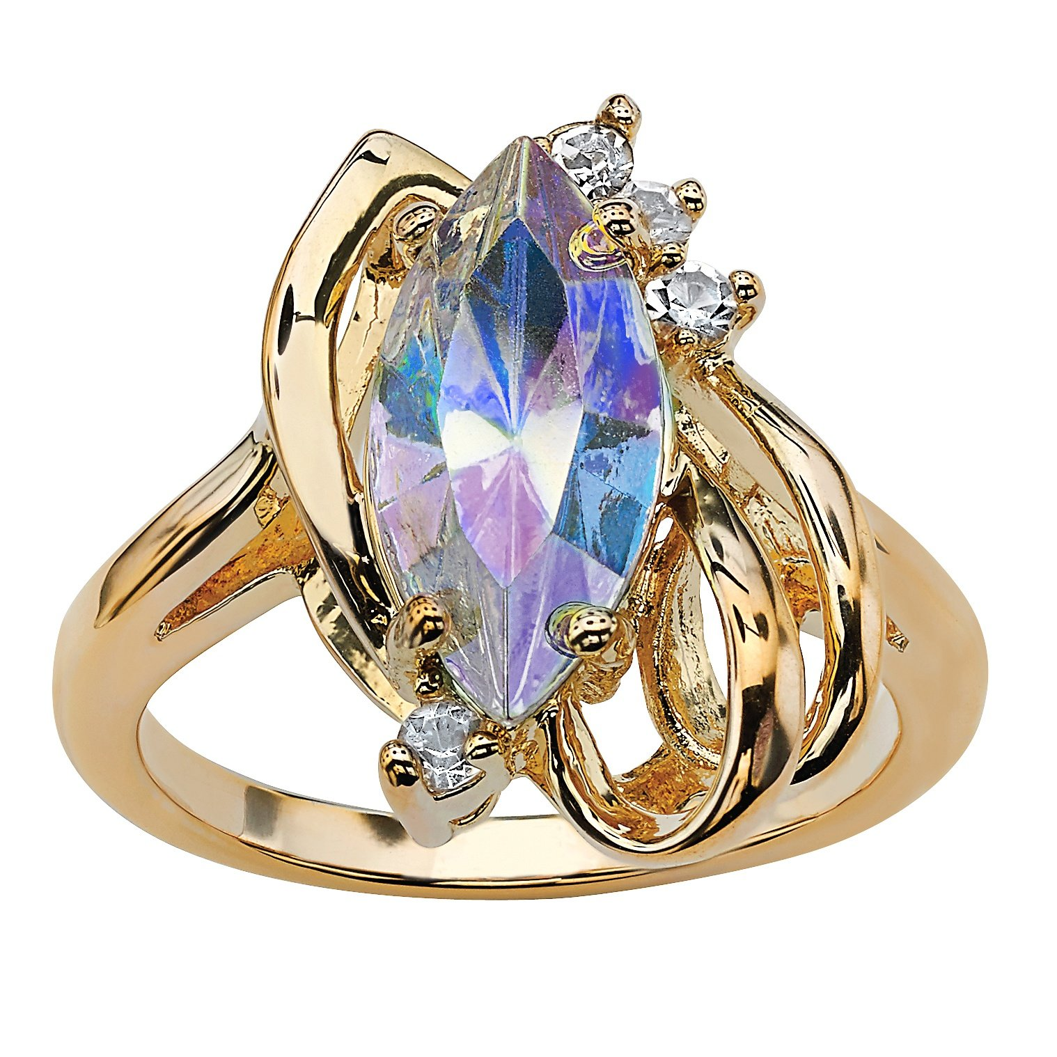 Palm Beach Jewelry 14K Yellow Gold-Plated Marquise Cut Aurora Borealis Crystal Ring Size 10
