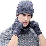 10fdf1c43112 Tuopuda® D hiver Tricotés Ensemble bonnet Tricoté Écharpe Gants pour Hommes  et Femmes