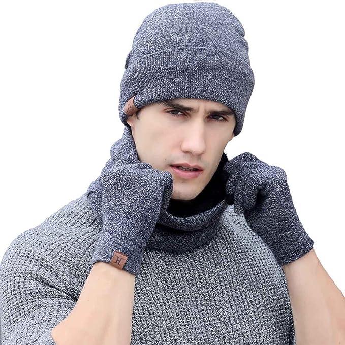 92befc7240b08 Tuopuda® Gorro Bufanda Guantes Set de Invierno para Hombre y Mujer Gorro de  punto Bufandas