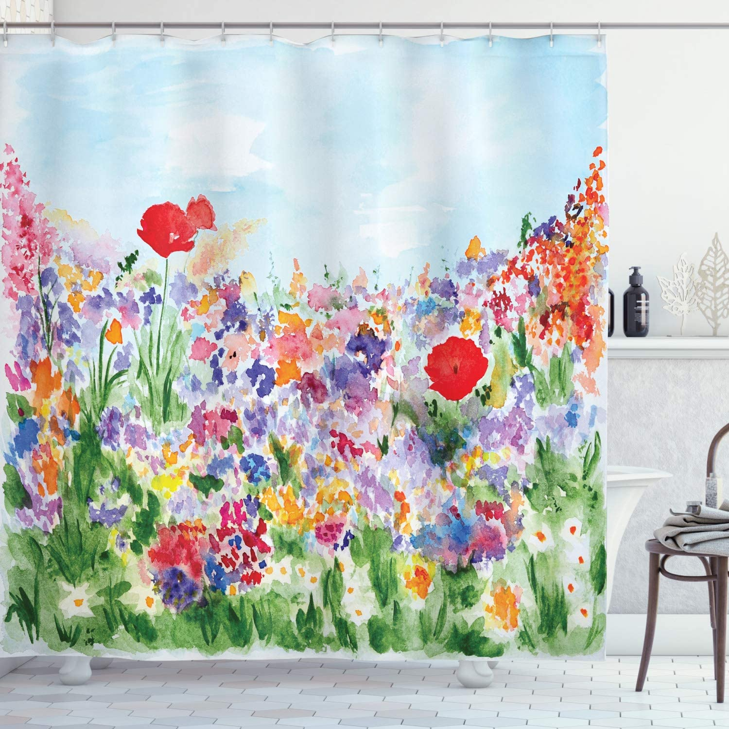 Ambesonne Watercolor Flower Shower Curtain, Floral Summer Garden with Grass and Blooms Love Illustration Print, Cloth Fabric Bathroom Decor Set with Hooks, 70