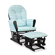 Storkcraft Custom Hoop Glider and Ottoman, Black/Turquoise Chevron