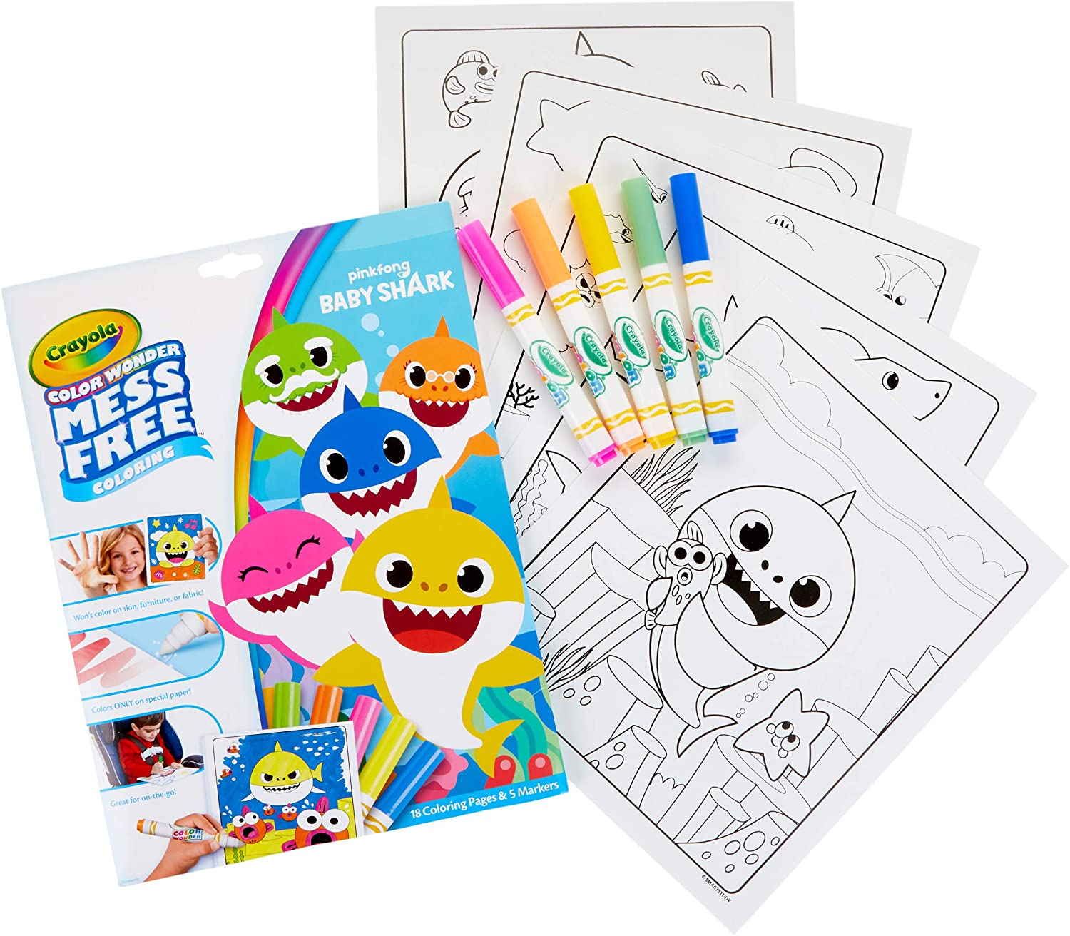 Amazon.com: Crayola Baby Shark Wonder Pages Mess Free Coloring Gift, Kids  Indoor Activities at Home: Toys & Games