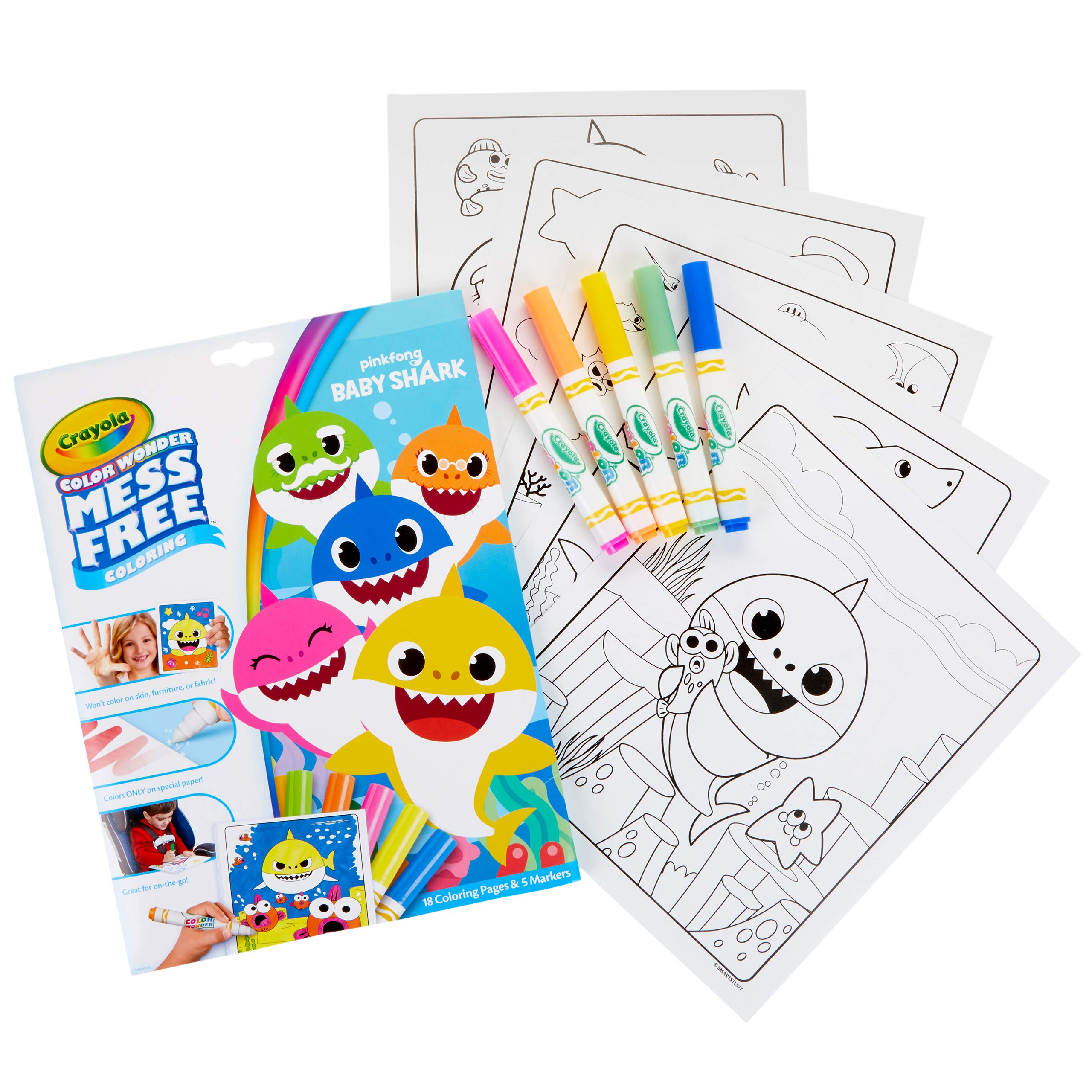 Crayola Baby Shark Wonder Pages Mess Free Coloring Gift Kids Indoor Activities at Home