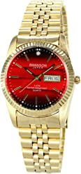 Swanson Mens Gold Day-Date Watch Faded Red Dial