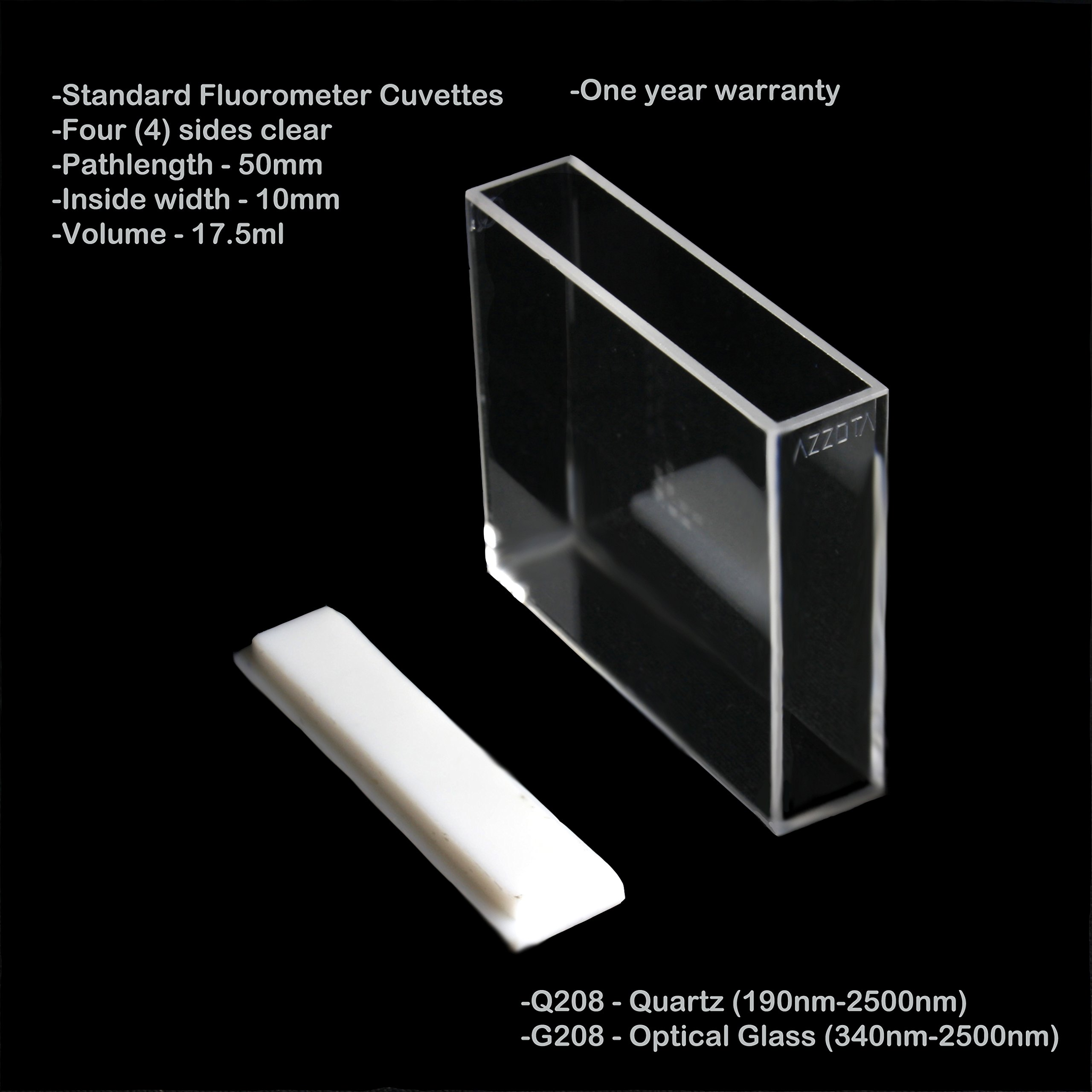 50mm Pathlength Quartz Fluorometer Cuvettes - 17.5ml