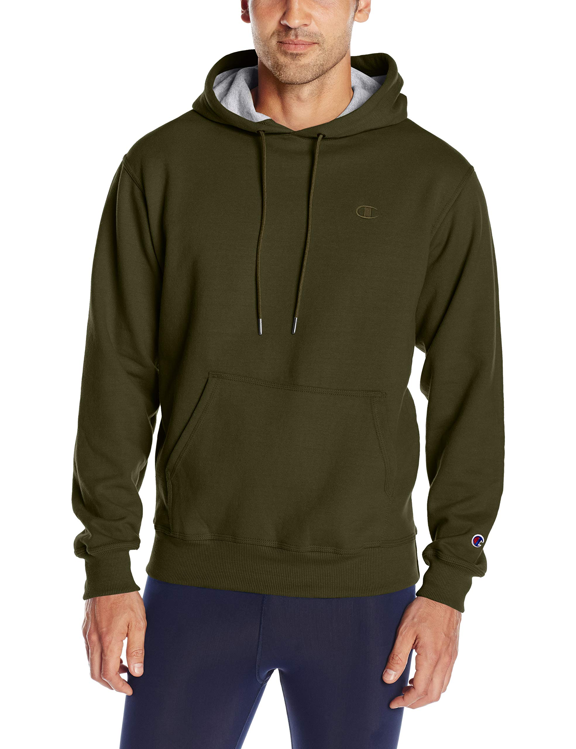 Champion Men's Powerblend Pullover Hoodie, Hiker Green, Small