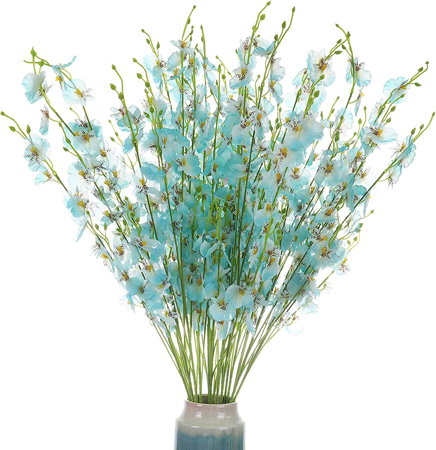 Momkids 10 Pcs Long Stem Artificial Orchids Flower Fake Silk Dancing Lady Orchids Flowers Phalaenopsis forsythia in Bulk of Wedding Party Garden DIY Home Decor(Blue, 37.5 Inch)