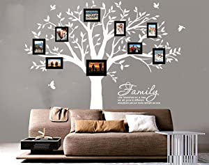 """LUCKKYY Grant Family Tree Wall Decal with Family Like Branches on a Tree Wall Decal Sticker Quote(83"""" Wide x 83"""" high) (White)"""