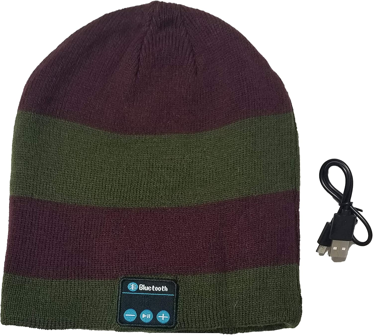 Savage Gear Wireless Youth Beanie Hat with Wireless Hands Free Easy Connect Technology (Olive/Maroon)