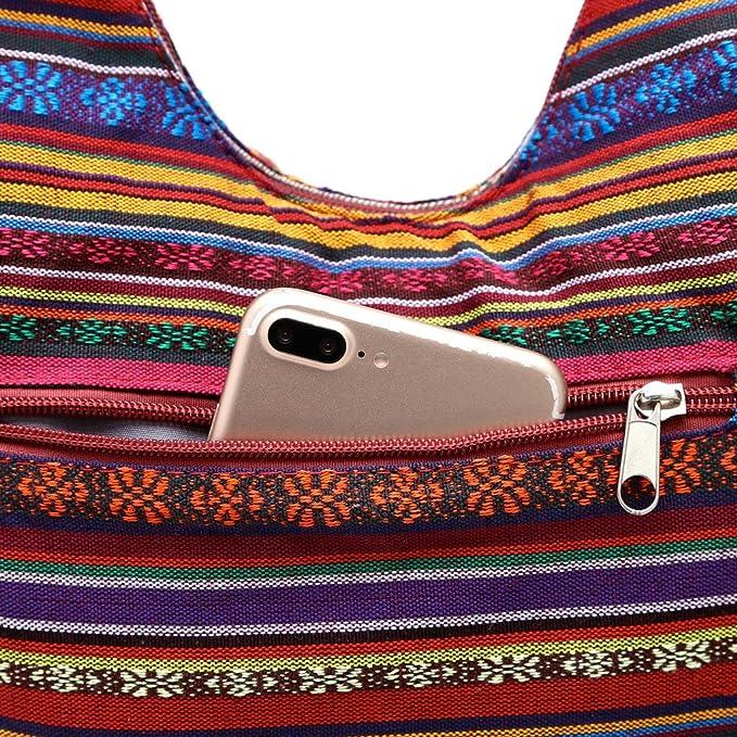 BUIDI Mujeres Hippie Bolsos de Hombro Flecos Grandes monederos Bolso /étnico Bolso de Viaje