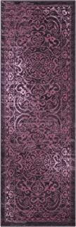 product image for Maples Rugs Pelham Vintage Runner Rug Non Slip Hallway Entry Carpet [Made in USA], 2 x 6, Wineberry Red