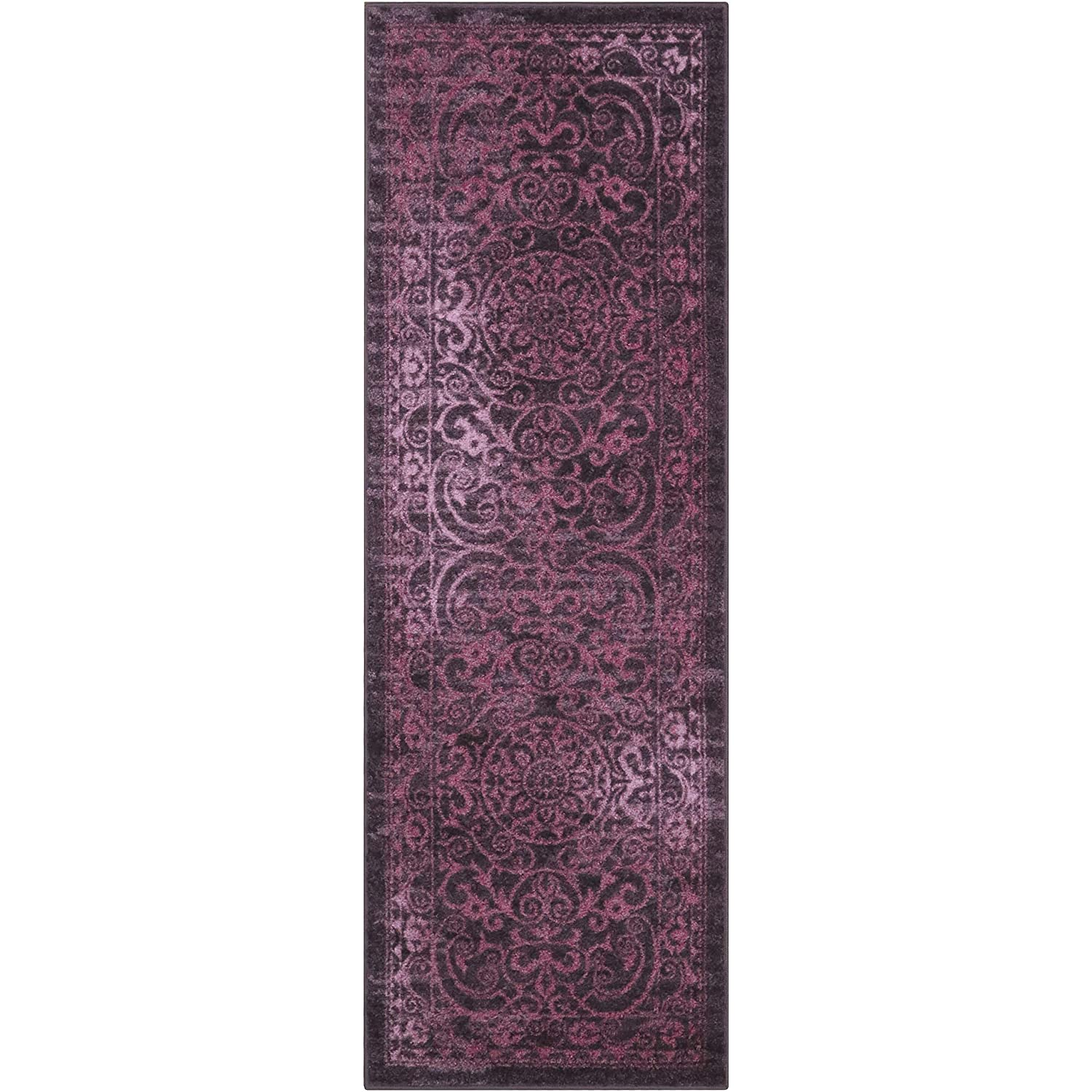 Maples Rugs AG4055708 Pelham 2' x 6' Non Skid Hallway Carpet Entry Rugs Runners [Made in USA] for for Kitchen and Entryway Wineberry Red
