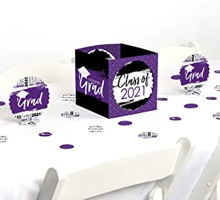product image for Big Dot of Happiness Purple Grad - Best is Yet to Come - Purple 2021 Graduation Party Centerpiece & Table Decoration Kit