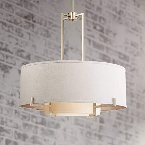 Concentric Shades Brushed Nickel Pendant Chandelier 28″ Wide Modern White Fabric Drum 4-Light Fixture