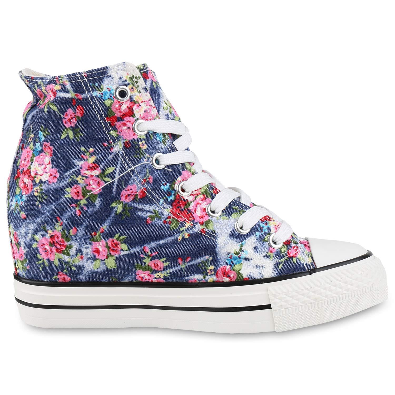 Schuhe VITA Damen Sneaker Wedges mit Keilabsatz Basic Basic Keilabsatz Dunkelblau Blumen ee8335