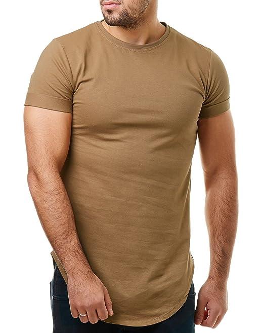EightyFive Herren T-Shirt Slim Fit Long Oversized Shirt Basic Unifarben  EFT96, Größe: