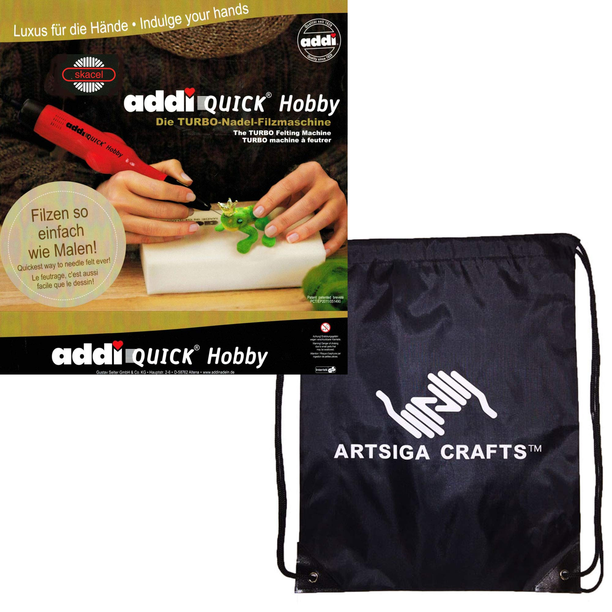 addi Knitting Needles Quick Hobby Turbo Needle Felting Machine 850-2 Bundle with 1 Artsiga Crafts Project Bag by Addi Knitting Needles