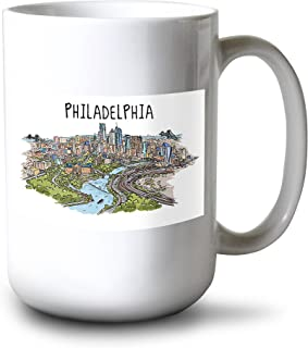 product image for Philadelphia, Pennsylvania - Line Drawing (15oz White Ceramic Mug)