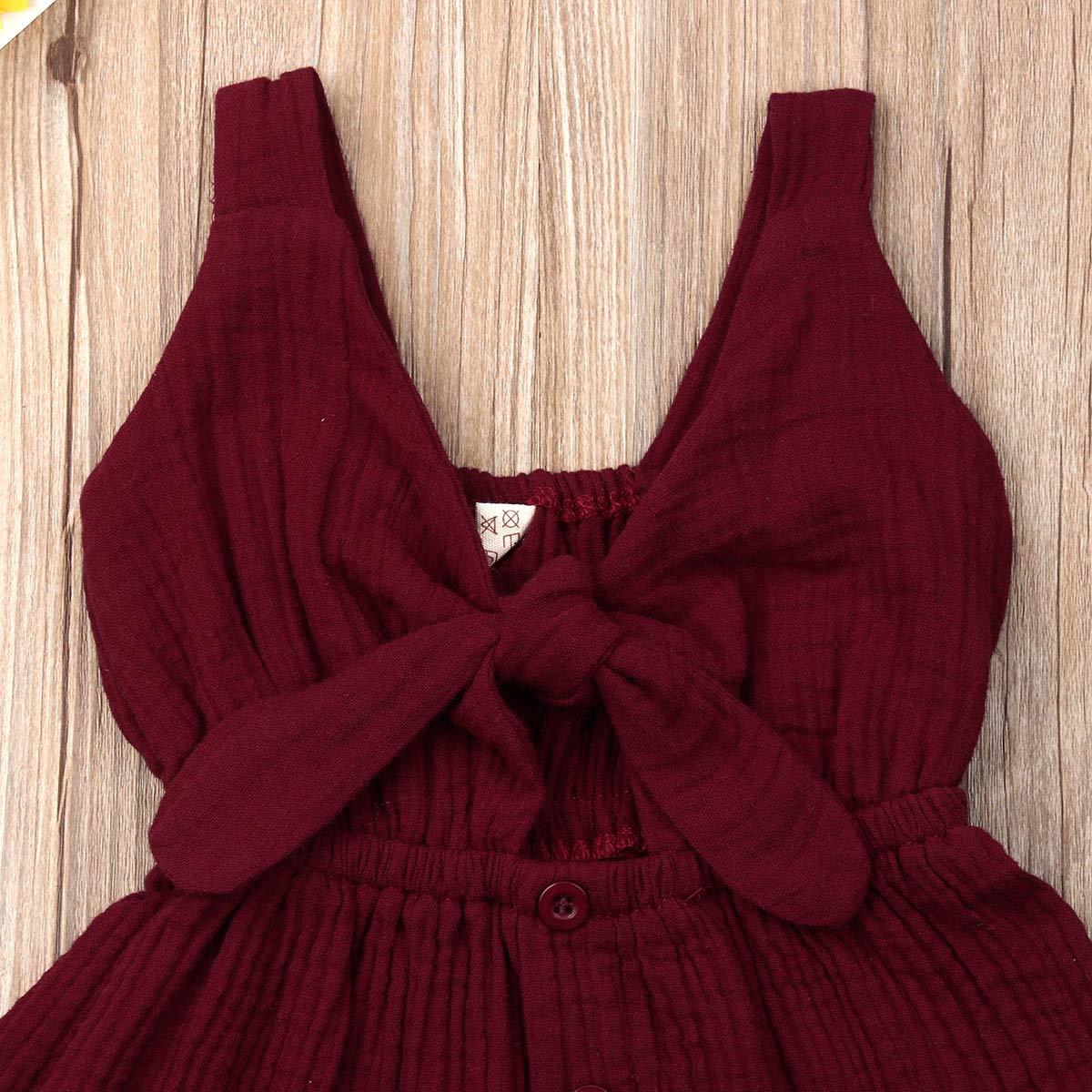 LUCKHA Baby Girl Summer V Neck Sleeveless Backless Tie Knot Cotton Linen Dress Casual Sundress
