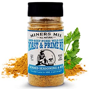 Miners Mix Roast and Prime Rib Herbed Seasoning Dry Rub - Rosemary, Garlic, Black Pepper, Oregano, and Thyme for the Perfect Crust on Beef, Pork, Lamb or Rotisserie Chicken. Low Salt, No MSG. 5 oz