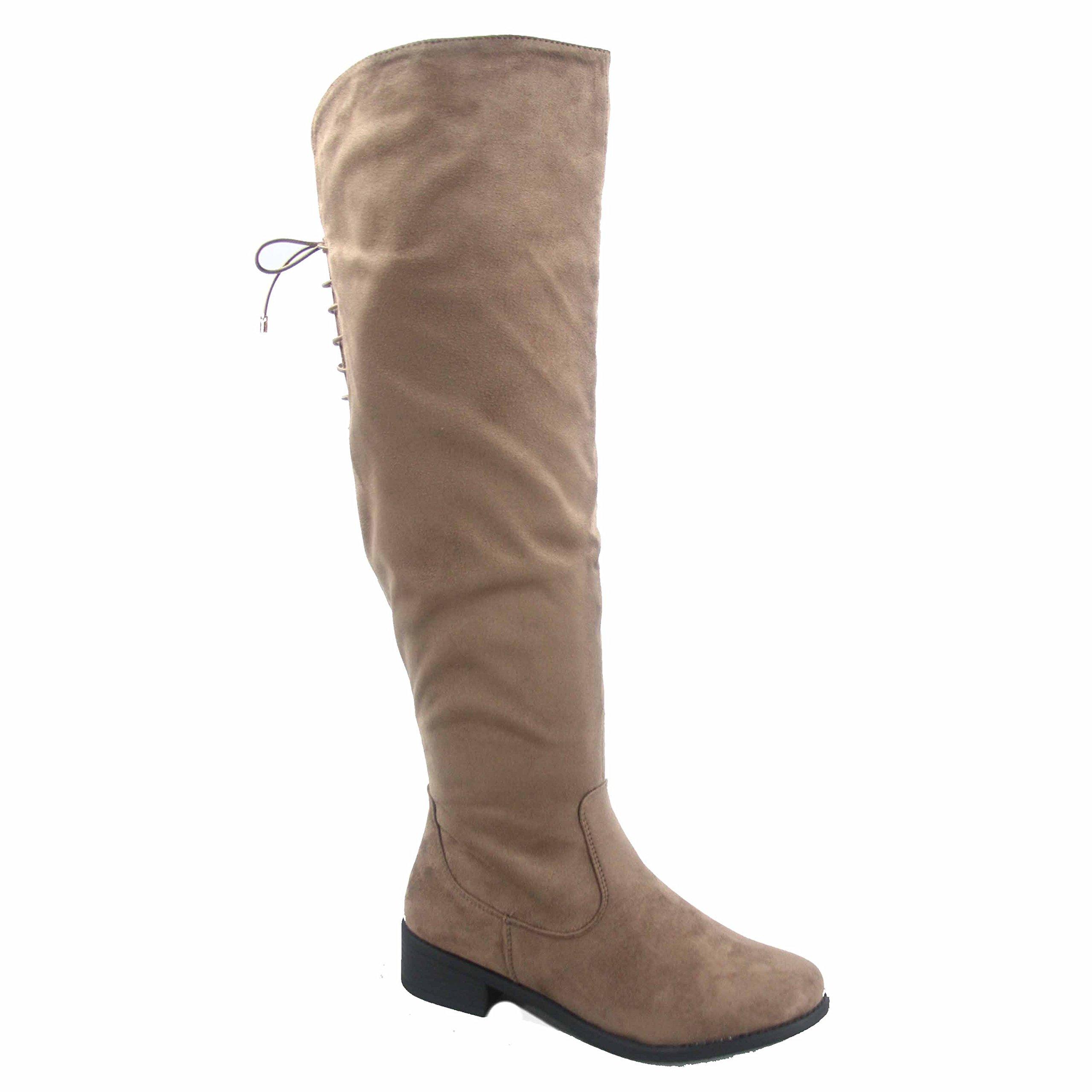 Top Moda Jones-6 Women's Round Toe Low Heel Zipper Over The Knee Riding Boots Shoes (7.5, Taupe)