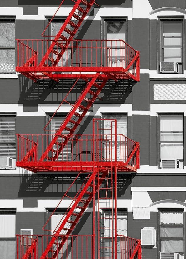 Imagen de pared, papel pintado Foto JEFE DE BOMBEROS 183x254 Salida de incendios de Nueva York EE.UU. escalera roja rascacielos de Nueva York: Amazon.es: Bricolaje y herramientas