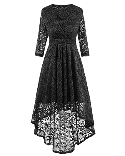 Adodress Womens Long Sleeve Lace Prom Dresses Formal Retro Vintage Swing Party Cocktail Dresses S-