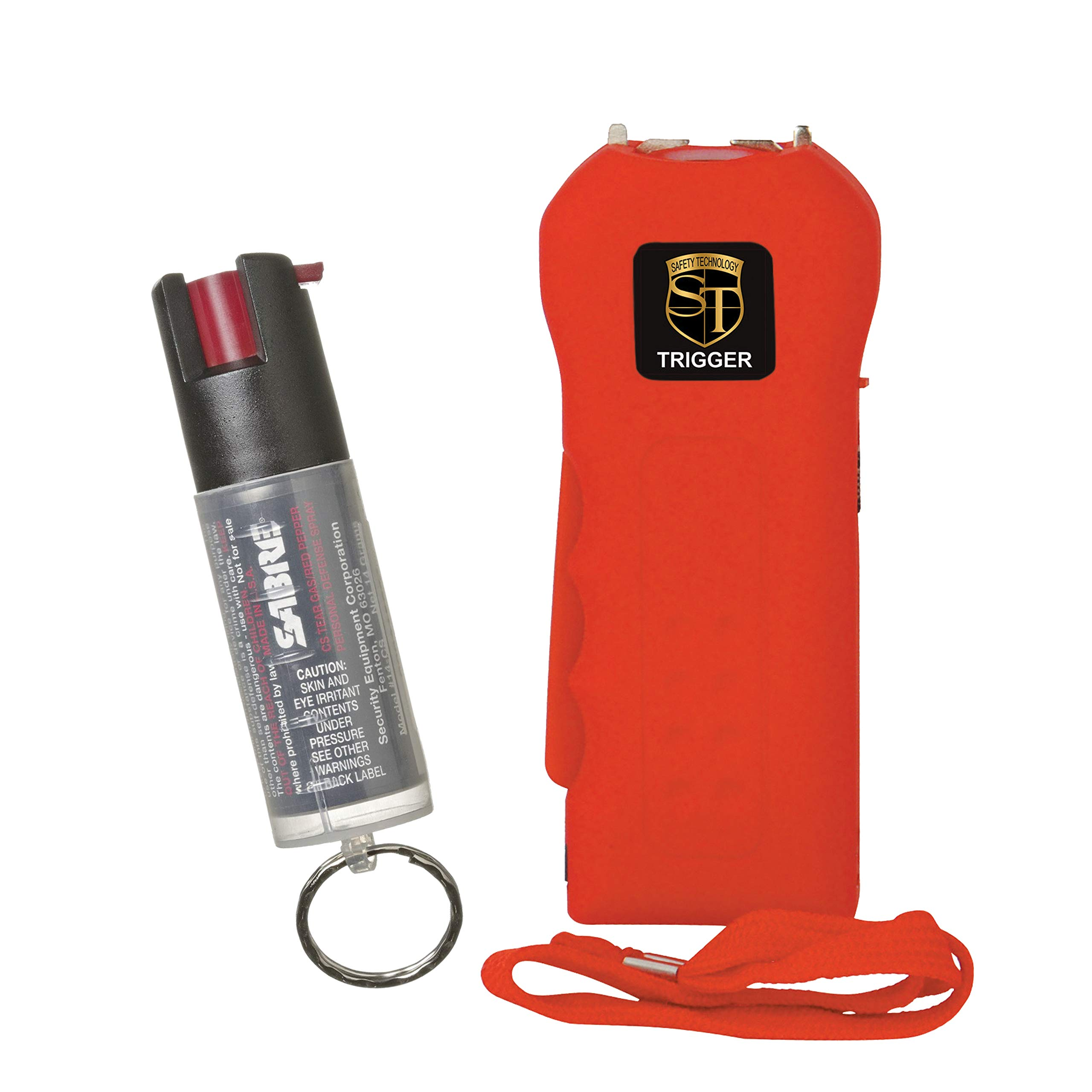 TRIGGER College Safety Bundle: 20 MIL Stun Gun and Sabre Key Chain Pepper Spray - Lot of 2 as Shown Stun Gun RED