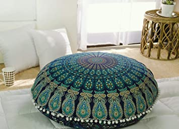 Popular Handicrafts Kp834 Large Hippie Mandala Floor Pillow Cover - Cushion Cover - Pouf Cover Round Bohemian Yoga Decor Floor Cushion Case- 32