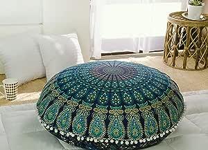 Popular Handicrafts Kp834 Large Hippie Mandala Floor Pillow Cover - Cushion Cover - Pouf Cover Round Bohemian Yoga Decor Floor Cushion Case- 32