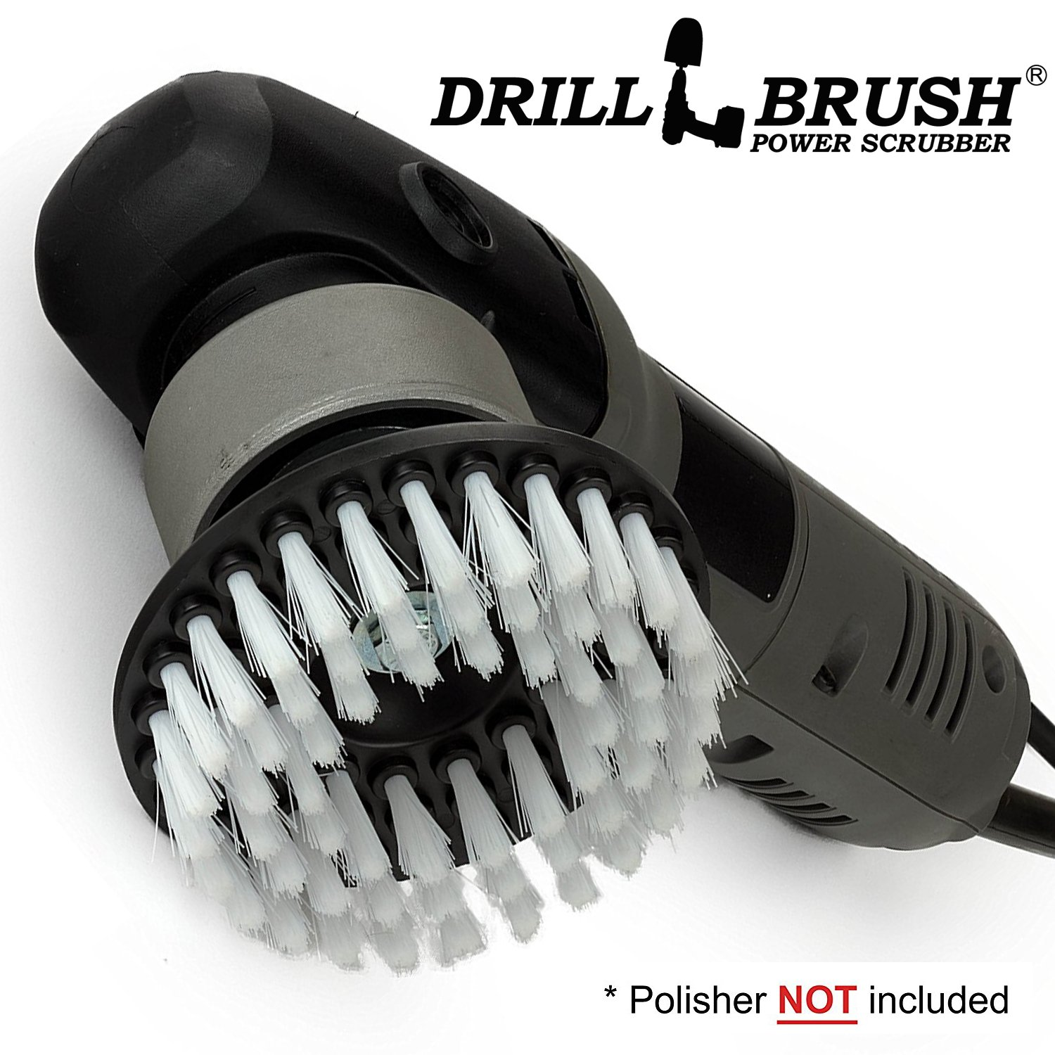 Polisher - Scrub Brush - Carpet Cleaner - Rug - DA - Buffer Polisher - Soft White Bristles with Threaded Shaft - fits - Dual Action - Rotary - Positive Drive Polishers - Glass Cleaner - Carpet Brush