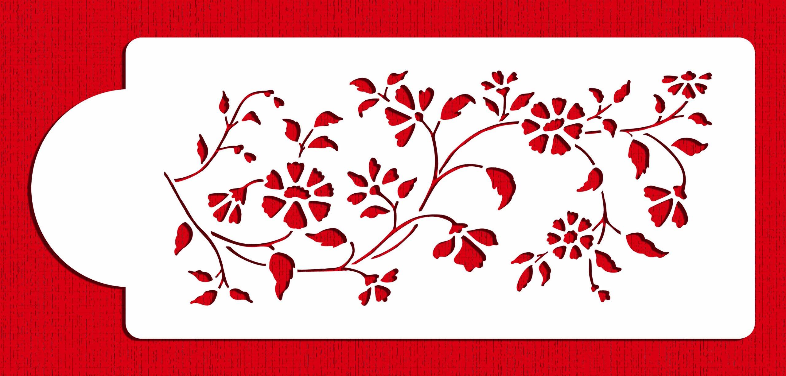Designer Stencils C488 Chintz Floral Cake Stencil Side, Beige/semi-transparent