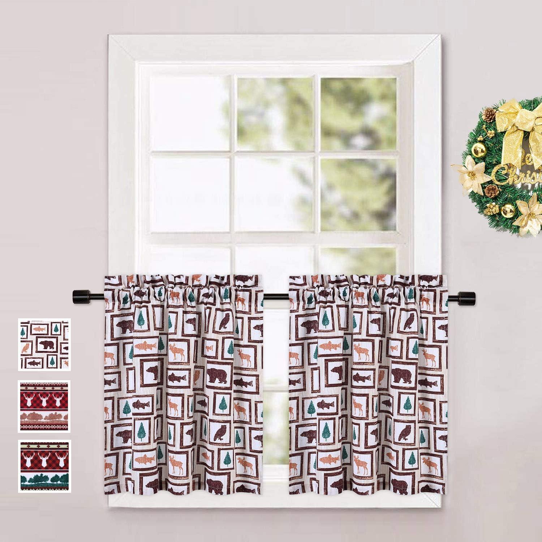 CAROMIO Cafe Curtains 24 Inch, Animals Farmhouse Home Decor Short Tier Curtains for Kitchen Cafe Bathroom Window Curtains, Animals