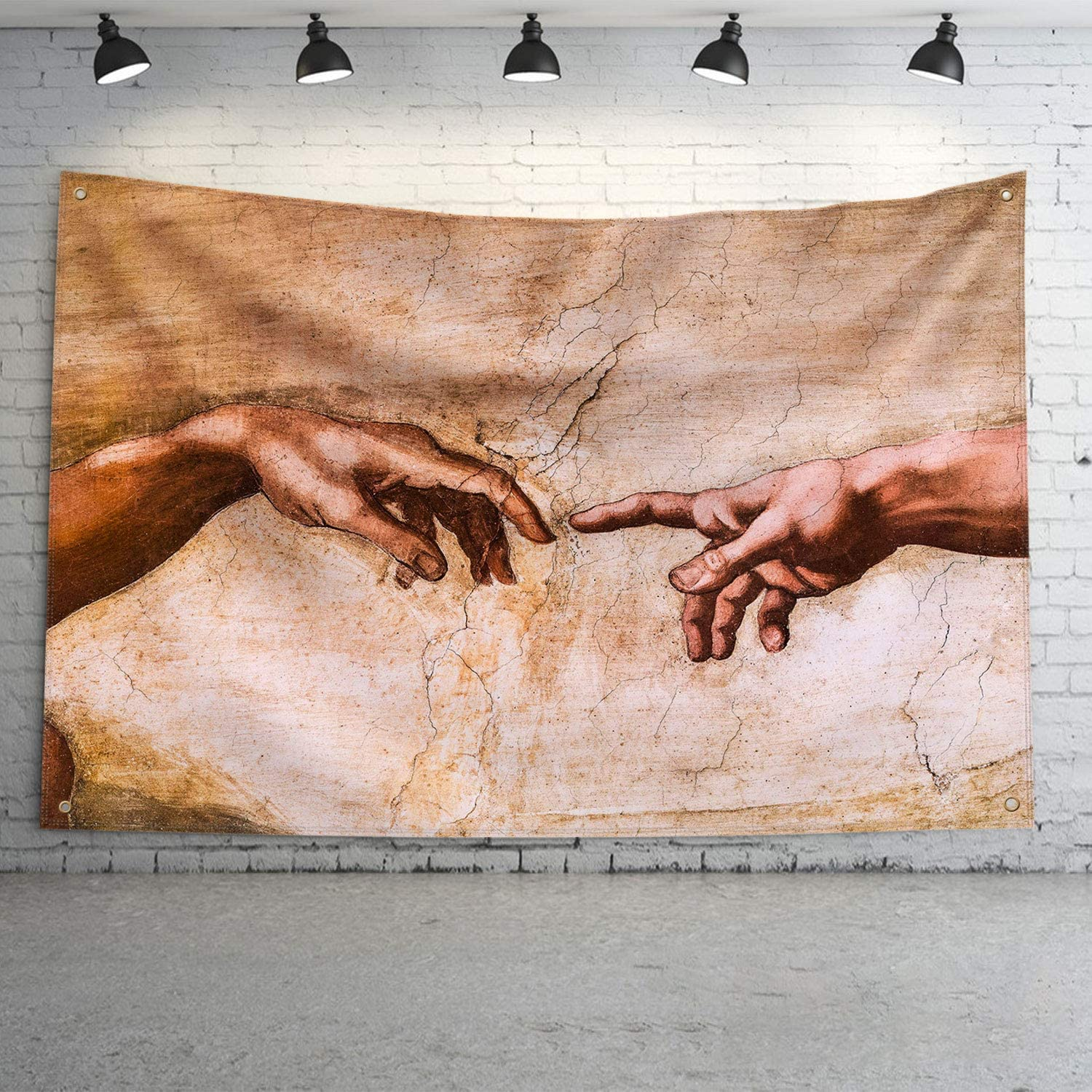 LONEA The Creation of Man - Hands by Michelangelo Buonarroti Banner Flag God and Adam Hands Art Print Poster with Brass Grommets for College Dorm Frat or Man Cave 3x5 Ft