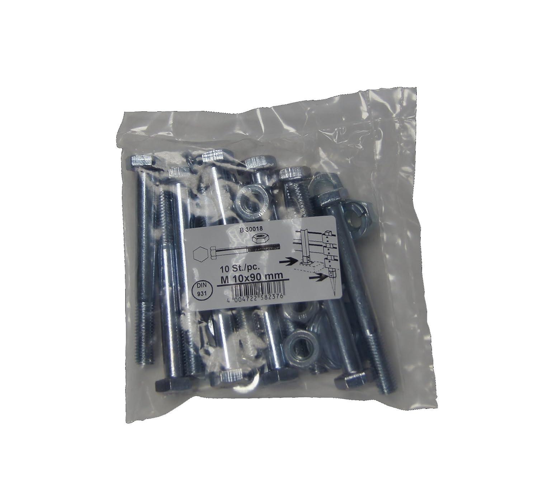 verzinkt 10 x 110 mm mit Muttern B30019 Federringen und Karosseriescheiben Connex 10 Sechskantschrauben im Set