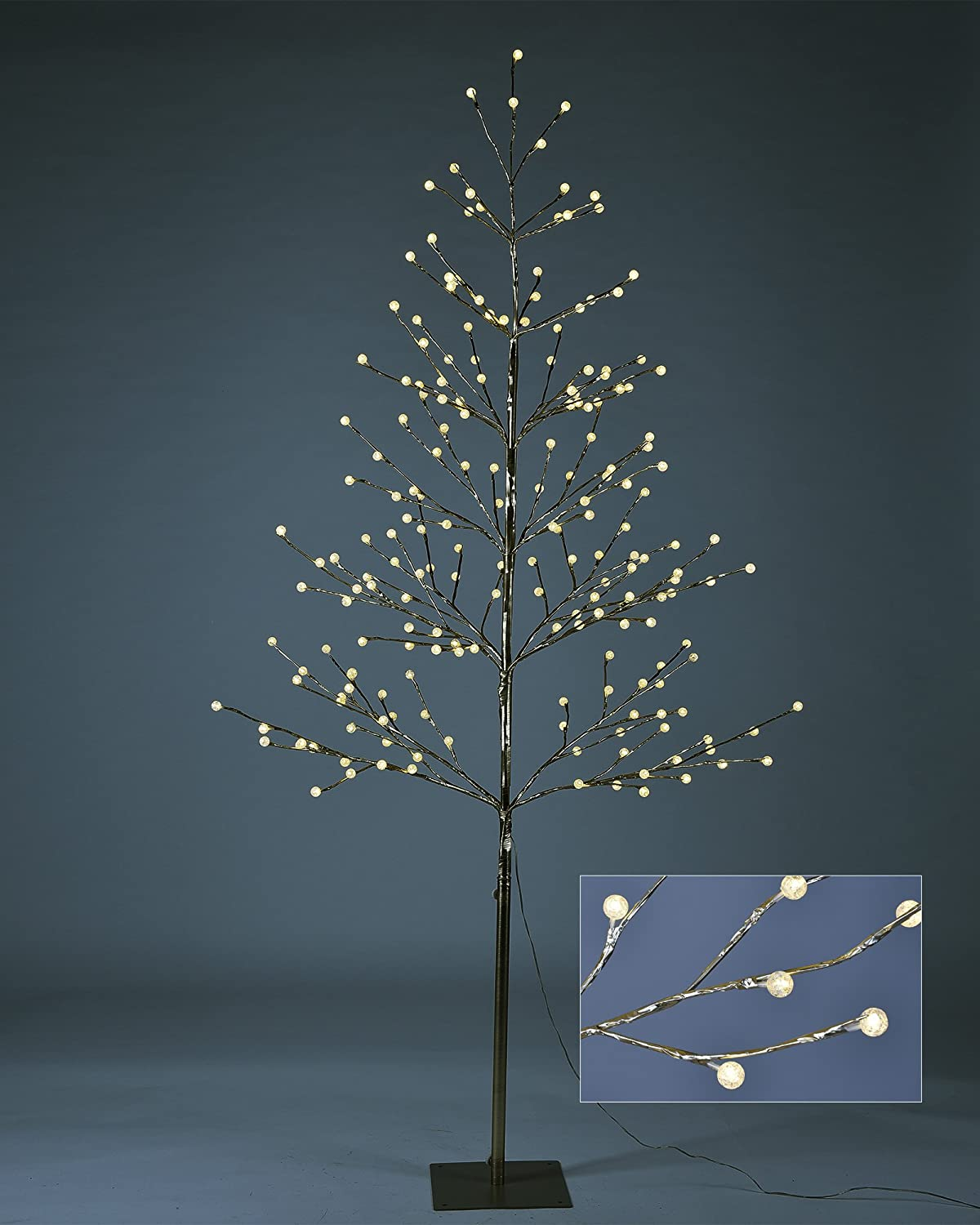 LIGHTSHARE 6 ft. LED Tree - Northern Lights Pre-lit Tree with 198 LED Lights, 6 Feet, Golden Finish, Champagne Gold, Warm White Lights, Starlit Snowballs, Iceball Decor, Ideal for Holiday Decoration